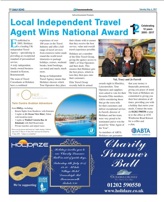 Local Independent Travel Agent wins National Award